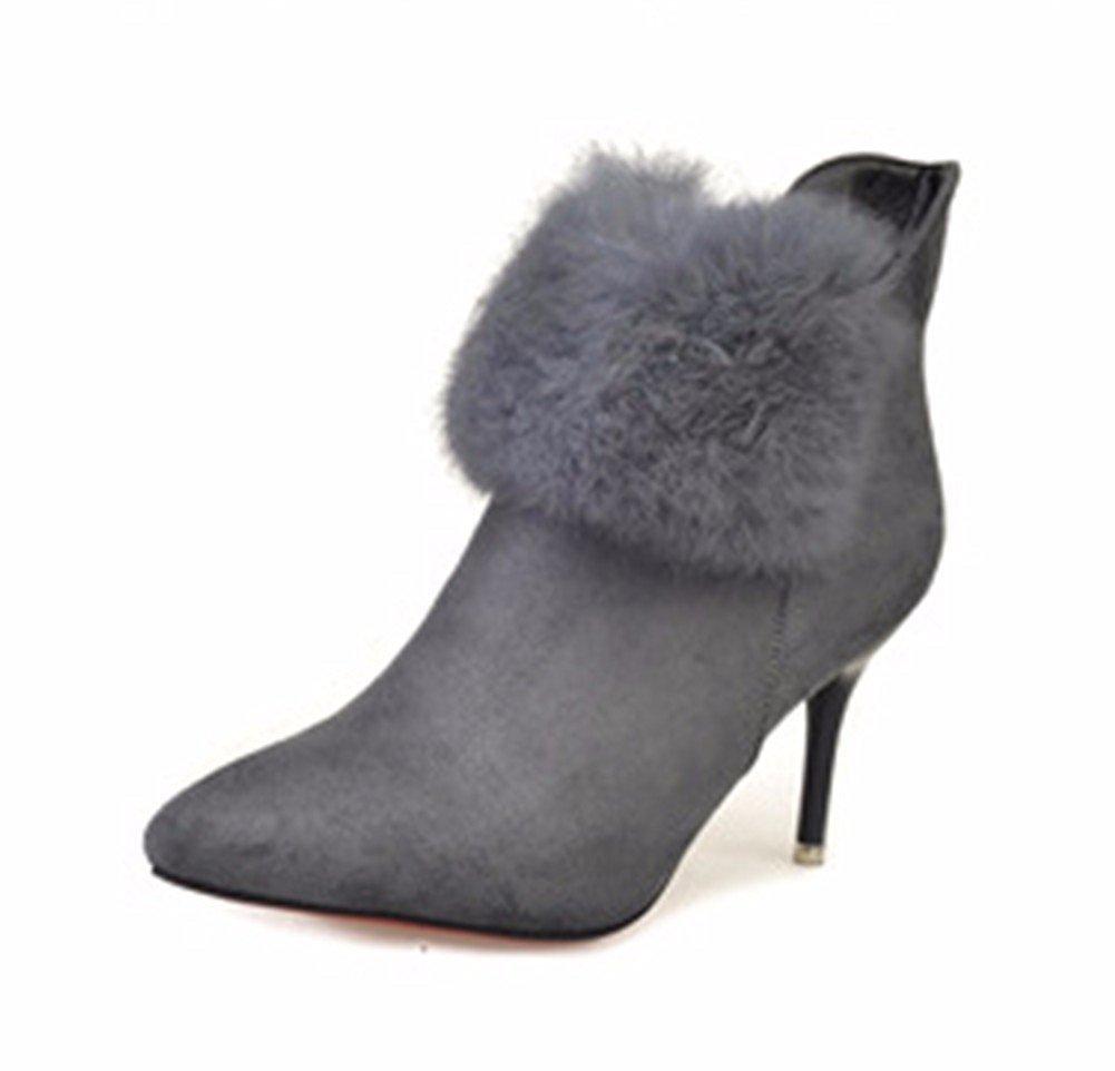 DIDIDD Women'S Boots High Heels Fine Heel Side Zipper Martin Boots Autumn Winter Shoes,38 Eu,Gray