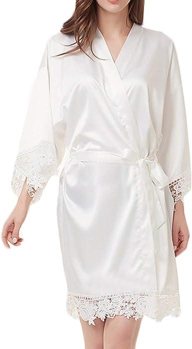 Satin//chiffonshort matrimonio sposa damigella d/'onore veste da Donna Floreale Kimono Accappatoio