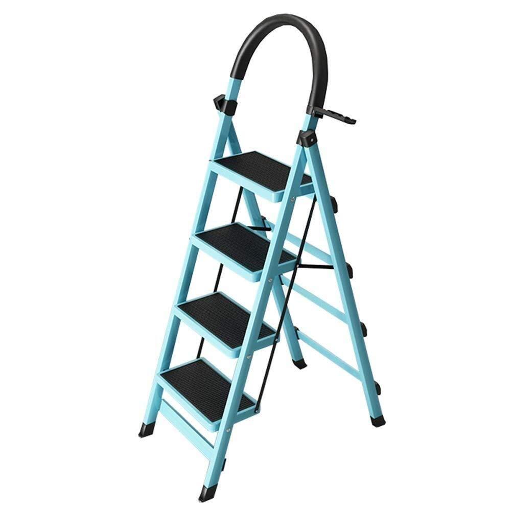 Sgabello Pieghevole Portable Scala a pioli Sgabello di Sicurezza Anti-Skid Scala con Spugna corrimano Ampia Cucina Pedale 4 Passo Acciaio Ladder Scalette Color : Blue