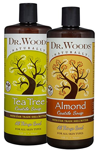 Dr. Woods Almond & Tea Tree Castile Soap, Body Wash with Organic Shea Butter Variety 2 Pack