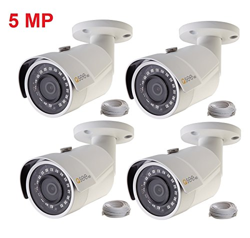 (Q-See 4-pack of 5MP HD QC IP Series QCN8099B Security Camera with Color Night Vision and H.265)