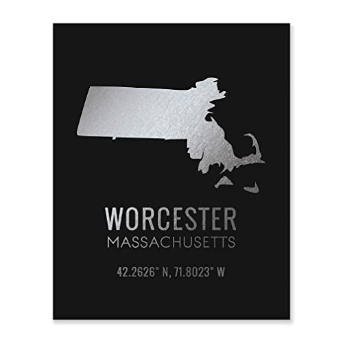 Amazon Com Worcester Ma Decoration Silver Foil Art Wall Prints Massachusetts New Home Moving Wedding Gifts State Silhouette City Coordinates Simple Rustic Black Poster Paper Office Bedroom Kitchen Decor 8x10 F50 Handmade
