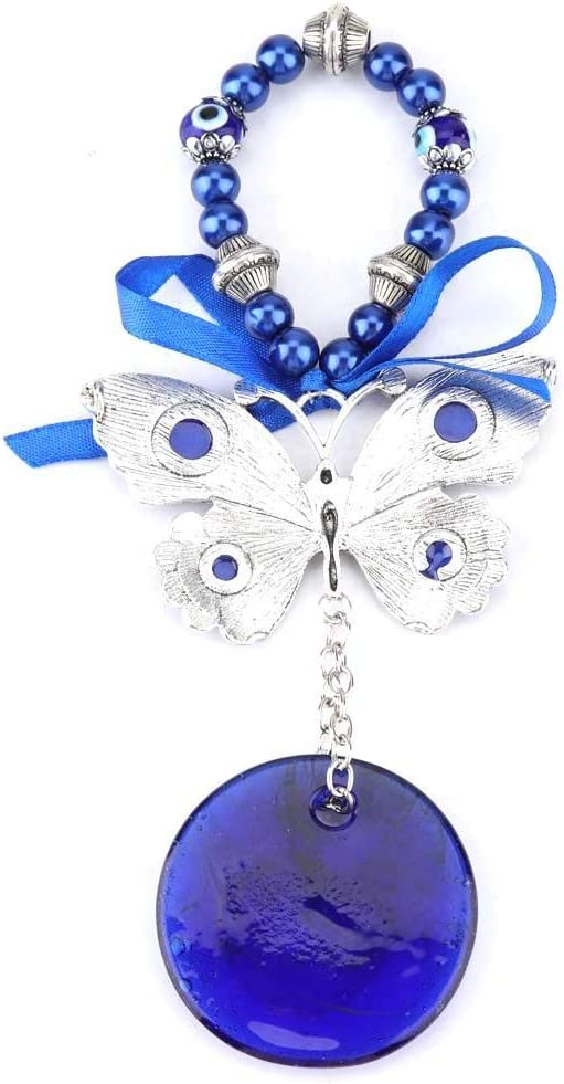 6.69 Inch Turkish/Glass Butterfly Wall Hanging Ornament Blessing Good Luck Amulet for Home Office Car Decorative Gift Blue Evil Eye