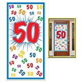 """HAPPY 50th BIRTHDAY Party DOOR COVER/Banner/DECOR/DECORATIONS 30"""" x 60"""" FIFTIETH/Look Who's 50-OVER the HILL Parties by BEISTLE"""