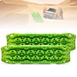 FieryRed Traction Tracks - 2 Pcs Traction Mat Recovery for Sand Mud Snow Track Tire Ladder 4X4 - Traction Boards Size: 45.3 inch (L) x 13 inch (W) X 2.6 inch (H), Green