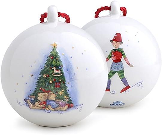 Addobbi Natalizi Hervit.Hervit Natale Art 26742 Sfera Porcellana Appendino Dia 6cm Abete Amazon It Casa E Cucina