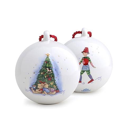 Addobbi Natalizi Hervit.Hervit Natale Art 26742 Sfera Porcellana Appendino Dia 6cm Abete