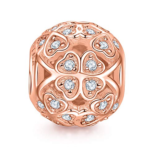 NinaQueen 925 Sterling Silver Lucky Clover Rose Gold Plated Charms for Pandöra Bracelets Pendant&Chocker Necklaces Birthday Anniversary Valentines Gifts For Mommy Women Wife Girlfriend
