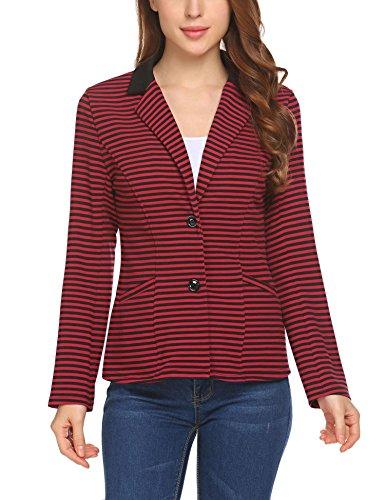 SoTeer Women's Striped Button Closure Blazer Jacket Long Sleeve Suit Outwear
