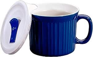 Corningware Pop-Ins Mug with Vented Plastic Cover, Blueberry, 591 ml