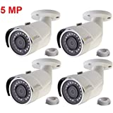 Q-See 4-pack of 5MP HD QC IP Series QCN8099B Security Camera with Color Night Vision and H.265