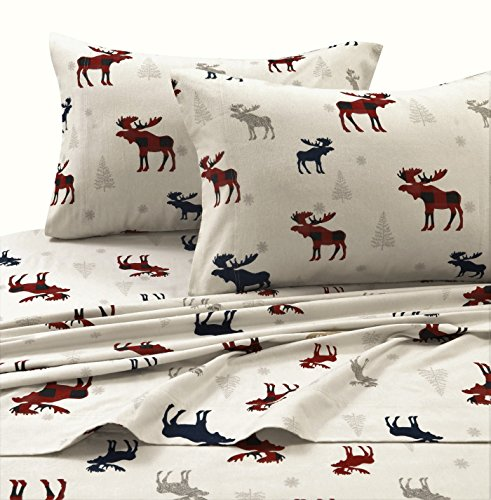 Tribeca Living PLRE170SHEETQU Printed Flannel Deep Pocket Sheet Set, Queen, Plaid Moose