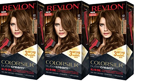 Revlon Colorsilk Buttercream Hair Dye, Light Golden Brown, 3 Count