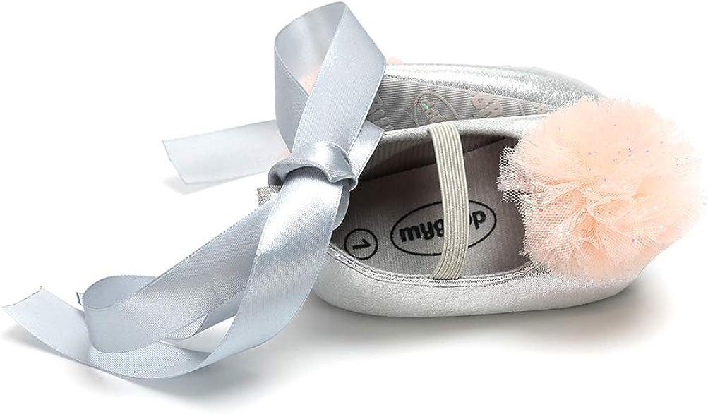 Baby Girls Shoes Hairband Gift Set Christening Lovely Hairball Mary Jane Shoes Anti-Slip Princess Shoes