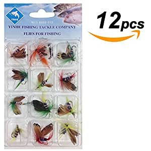 Moolecole Fly Fishing Flies Set Butterfly Fish Floating Fishing Lure Sharp Strong Hook Trout Bass Salmon Fish Baits (12pcs)