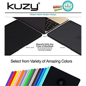 "Kuzy - Retina 12-inch BLACK Rubberized Hard Case for MacBook 12"" with Retina Display A1534 (NEWEST VERSION 2017 & 2016) Shell Cover - BLACK"