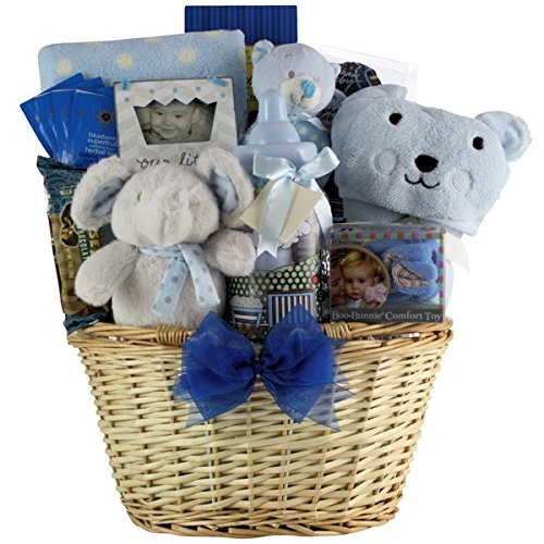 Baby Gift Sets Cotton Congratulations Baby! Boy New Baby Gift Set in a Woven Basket Full of Various Toys and Newborn Necessities (Cookie Gift Baskets For New Baby)