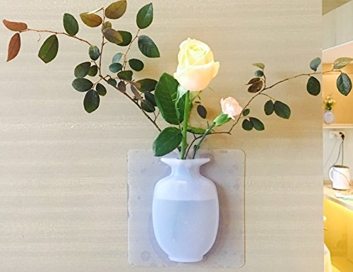 Hanging Wall Tiles - Silicone Vase Stick on the Wall ,Refrigirator, Bathrooms,Flower Container for Home and Offices ,Reusable Flower Pot Cirsum Numasanltd