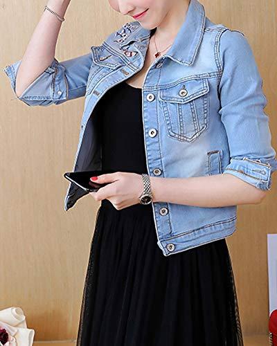 Moda Giacca Donna Azzurro Fit Giaccas Lunga Elegante Outerwear Cardigan Jeans Chiaro Slim Denim Giubbotto Vintage Manica Classica 8Bqd8r