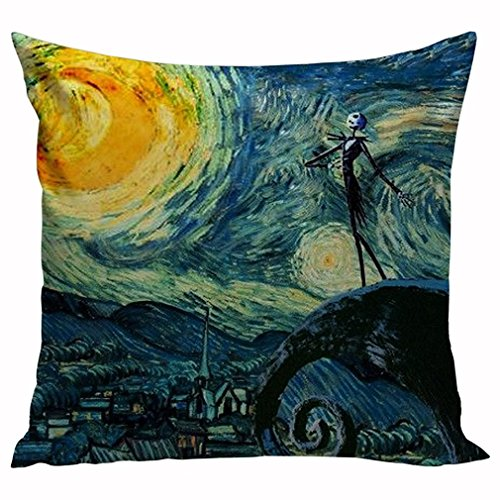 Starry Night and the Nightmare Before Christmas Printed Custom Pillow Case Decorative Cotton Zippered Throw Pillow Case Cushion Covers for Sofa Square 20x20 Inch Two Sides Great Gift