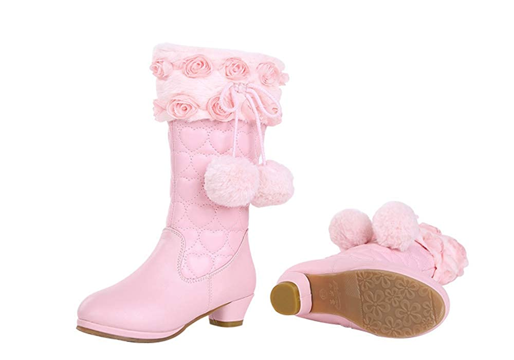 Knee-High Sequins Party Shoes FUN.S 2018 Girls Princess High-Heeled Snow Boots Hairball /& Plush