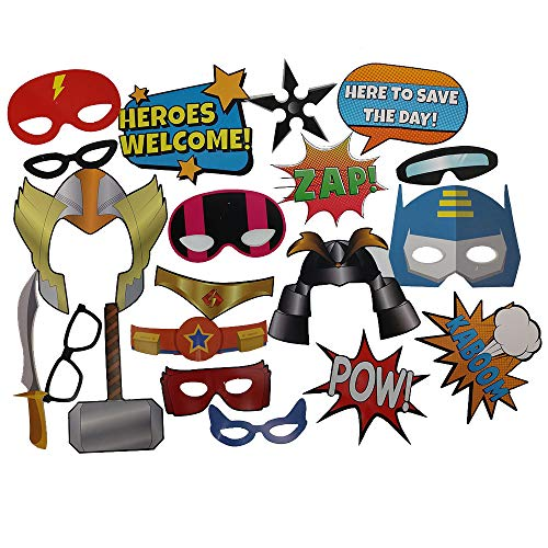 Superhero Photo Props (32 Pieces) for Photo Booths, Kids Birthdays, Superhero Parties and More! Our Superhero Photo Prop Party Favors are Pre-Made (Not DIY) for Your Convenience! -