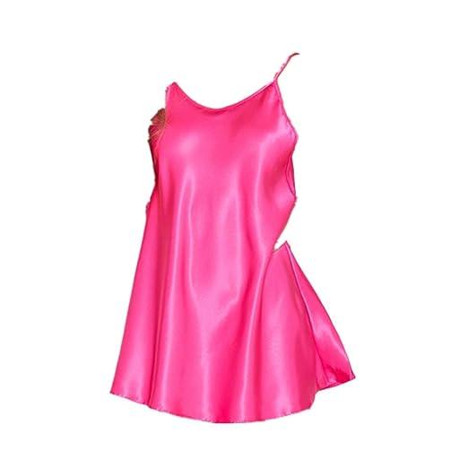 ca8fd661bb SUNBIBE Women Lingerie Silk Nightwear Sleepwear Solid Chemise Mini Teddy Nightdress  Sleepskirt (S