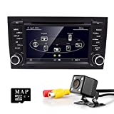 HIZPO In Dash Auto Car DVD Radio Player with 7inch Capacitive Touchscreen GPS Navigation Bluetooth RDS iPod-input SD Slot Canbus System Rearview Camera for Audi A4 S4 RS4