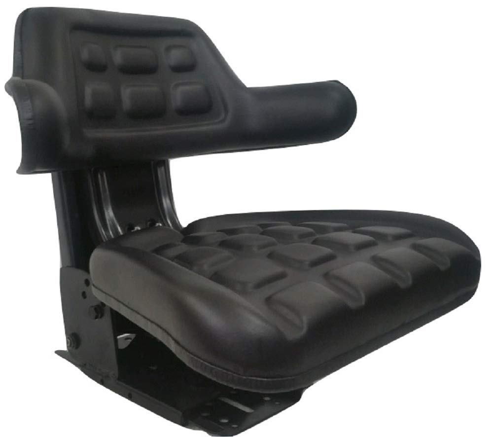 Black Waffle Style Universal Tractor Suspension Seat, Multi-Angle Base for Massey Ferguson 275, 285, 290, 294, 550, 565, 575, 590 by Concentric