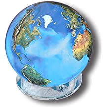 Aqua Crystal Earth Sphere with Natural Earth Continents, Glass Stand Included, 1.4 Inch Diameter