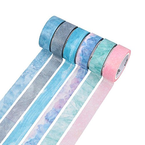 SODIAL Natural Color Washi Masking Tape,Sticky Paper Tape For DIY,Decorative Craft, Gift Wrapping,Set Of 6