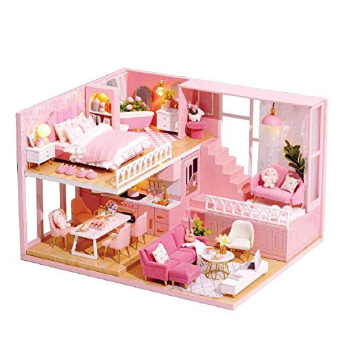 TuKIIE DIY Wooden Miniature Dollhouse Toy Model Kits with Furniture and Accessories DIY Dollhouse Kit Plus Dust Proof and Music Miniature Handcrafts Toys Great Birthday Gift for Children Teens