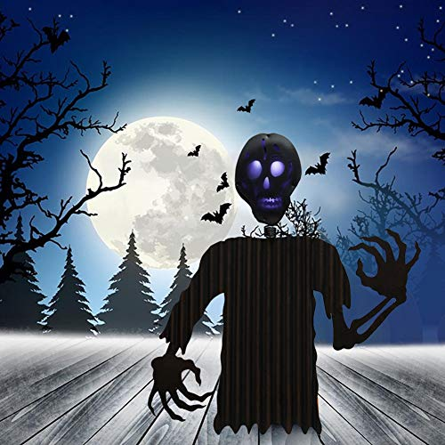 ATDAWN Metal Free Standing Black Ghost Decoration for Autumn Fall Thanksgiving Harvest Halloween Home Decor (24 inch)