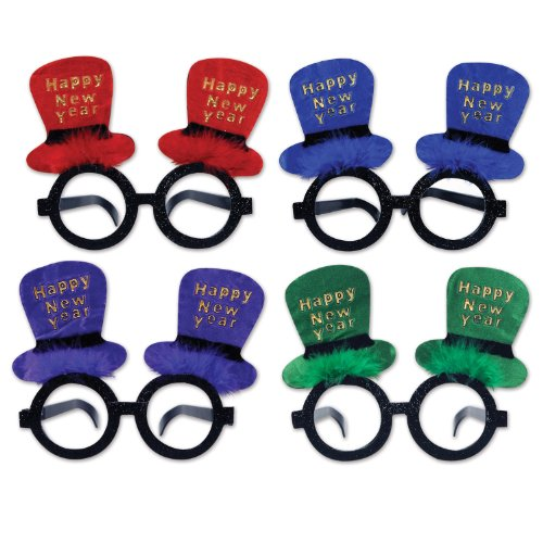 Hat New Top Year Happy (Beistle 80365-ASST Assorted Happy New Year Top Hat Glasses)