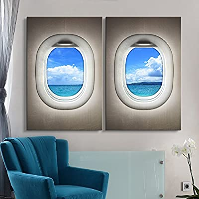 Beautiful Piece of Art, Classic Design, 2 Panel Clear Ocean Water Window View x 2 Panels
