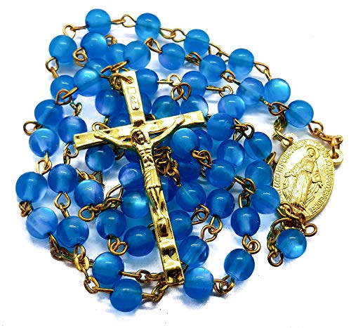Nazareth Store Turquoise Beads Catholic Rosary Necklace Miraculous Medal Centerpiece, Light Blue Crystal Cat Eye Beads and Gold Cross Crucifix in Velvet Gift Case Bag by Nazareth Store