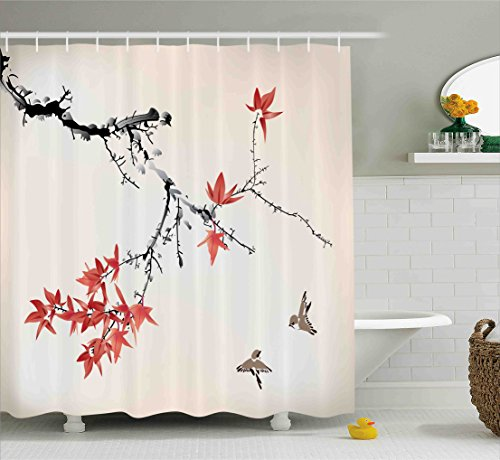 Japanese Shower Curtain by Ambesonne, Cherry Blossom Sakura Tree Branches Romantic Spring Themed Watercolor Picture, Fabric Bathroom Decor Set with Hooks, 70 Inches, Coral Black