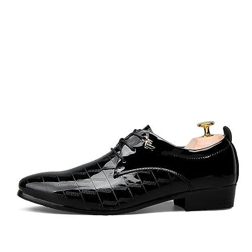Zapatos de Cuero para Hombres Suela de Goma con Punta Zapatos de Moda para Hombres Oficina