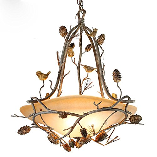 Julitech E14 Iron Resin Glass Birds Pine Cones Pendant Light Ceiling Lamp Industrial Retro Country Vintage Style Dining Hall Restaurant Bar Cafe Lighting Chandelier