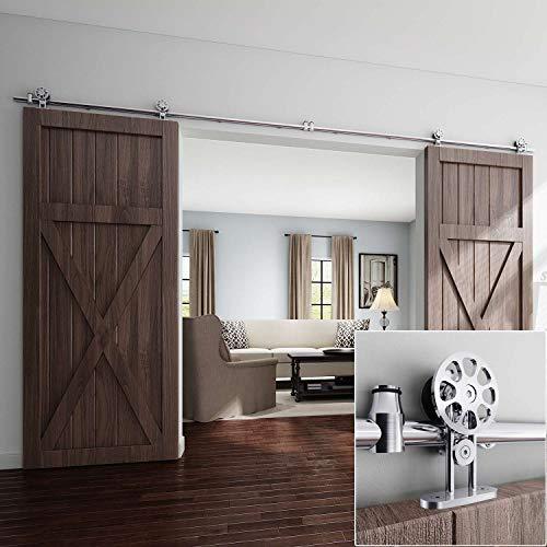 EaseLife-12-FT-Double-Door-Top-Mount-Modern-Sliding-Barn-Door-Hardware-Track-KitStainless-SteelSlide-Smoothly-QuietlyEasy-InstallFit-Double-36-Wide-Door-12FT-Track-Double-Door-Kit