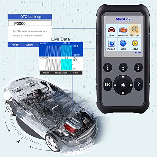 Autel MaxiLink ML629 OBD2 Scanner Upgraded Version of ML619, DTC Lookup, Ready Test, ABS/SRS/Engine/Transmission Diagnoses by Autel (Image #3)