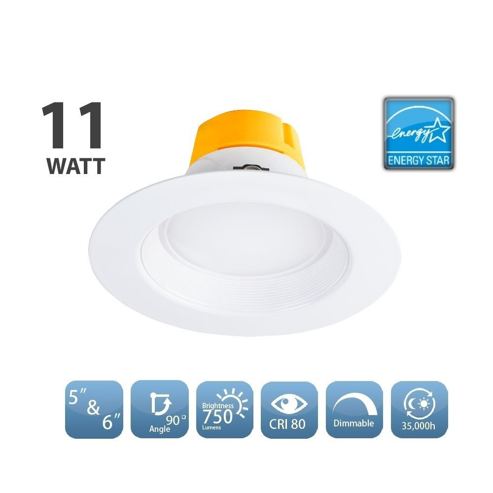 16 Pack 11 Watt 5''/6'' Recessed Light LED Retrofit Can Downlight Dimmable Lighting Fixture 3000K Warm White LED Ceiling Light - 750LM 120W Equivalent Recessed Down Light