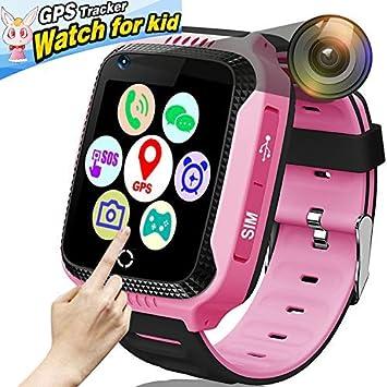 Reloj inteligente para niños, reloj gps niños, monitor de actividad física, SOS Calling, cámara de chat de voz, monitor remoto para niños y niñas