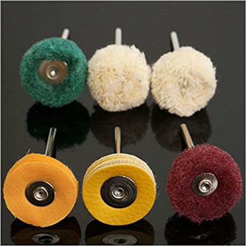 Wishfive 6pcs Universal Polisher Buffer Wheel Polishing Buffing Pad Kit for Dremel Rotary Tool