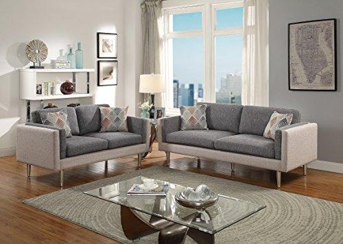 Living Room Ultra Stylish Comfort Plush 2pcs Sofa Set Dual Tone Color Ash Black / Sand Sofa Loveseat Pillows Silver Legs - Room Living Loveseat Ash