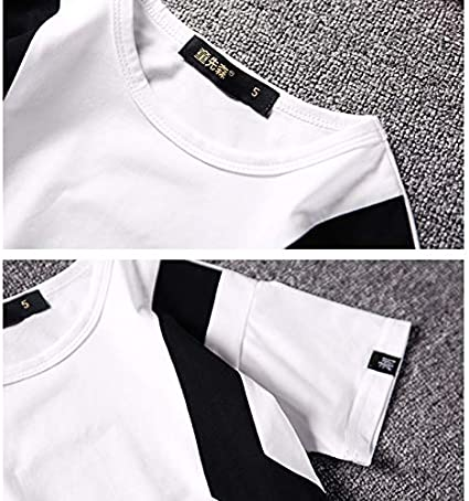 Childrens T-Shirts Black and White Stitching Short Sleeve Summer 95/% Cotton T-Shirt for Children Aged 3-12