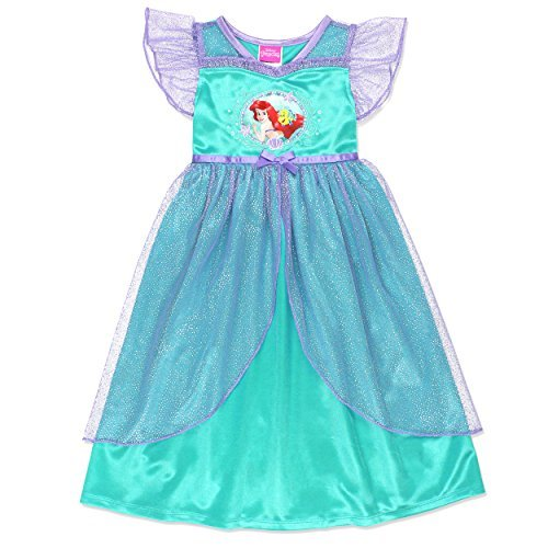 (The Little Mermaid Ariel Girls Fantasy Gown Nightgown Pajamas (4T, Teal) )