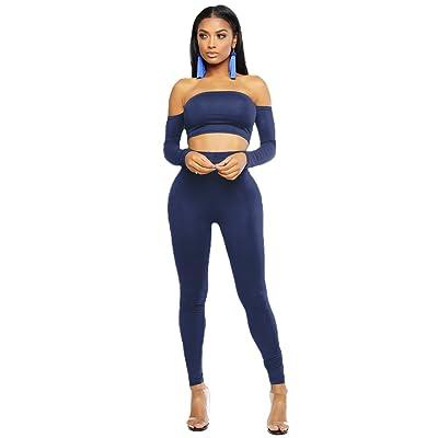 YuanDian Femme Casual Couleur Unie Sport Collant De Fitness 2 Pièces  Ensemble 3a08e1aeda1