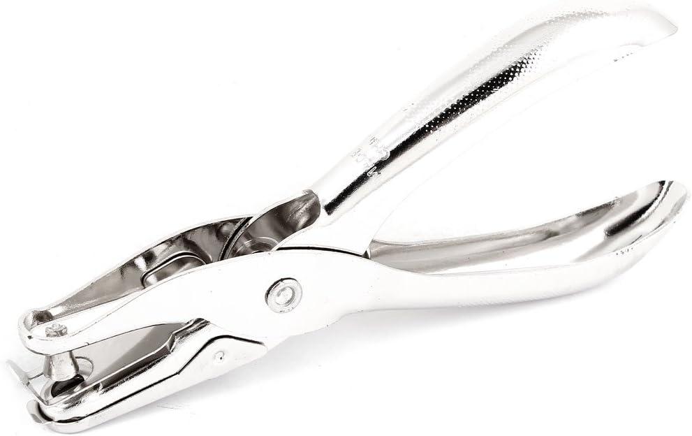 Metal 6mm Diameter Single Round Hole Punch Hand Plier Tool Silver Tone 2 Pcs