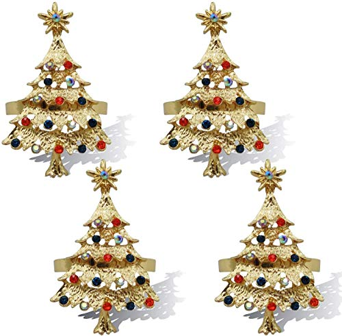 Christmas Tree Napkin Rings Set of 12 Holiday Table Decor Xmas Gift Winter Wedding Favors Accessories (Christmas Tree, 12)